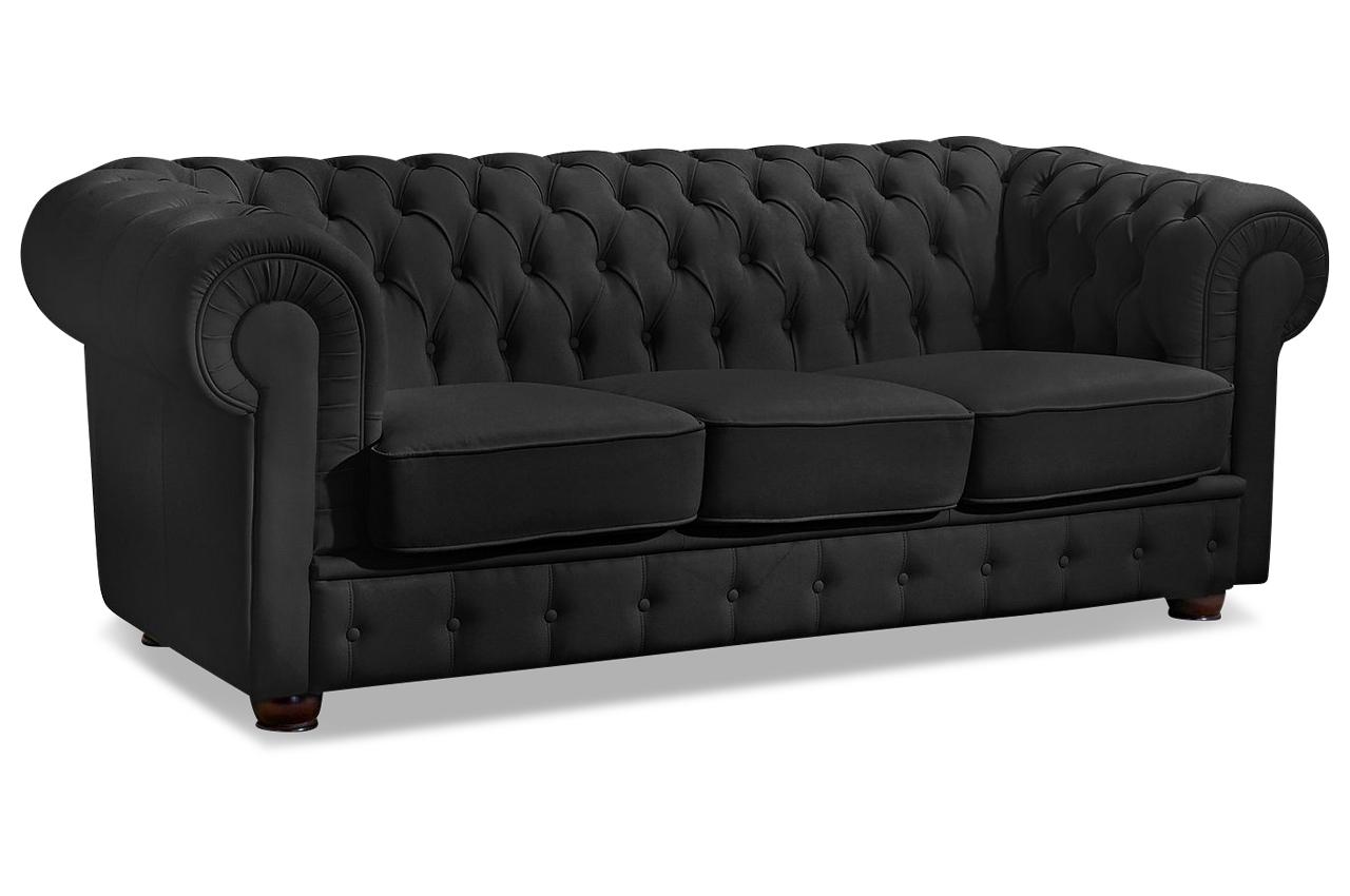 max winzer leder 3er sofa windsor schwarz sofas zum. Black Bedroom Furniture Sets. Home Design Ideas