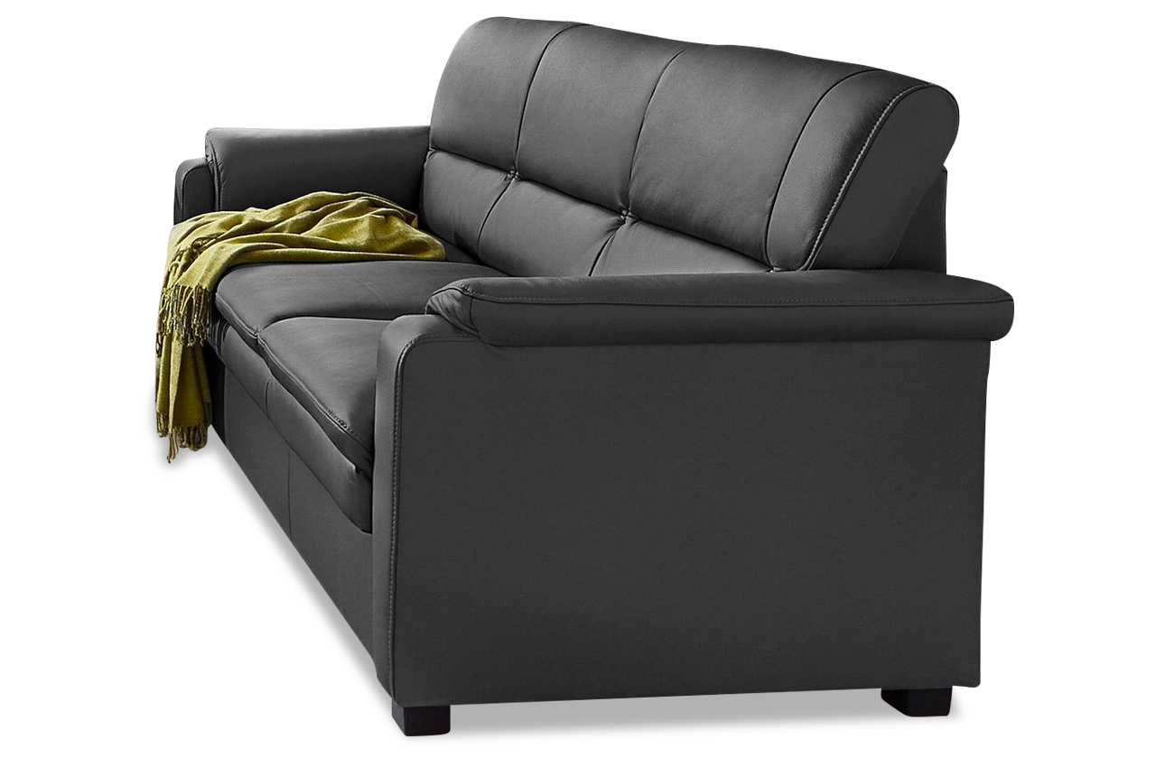 leder 3er sofa schwarz mit federkern sofas zum halben. Black Bedroom Furniture Sets. Home Design Ideas