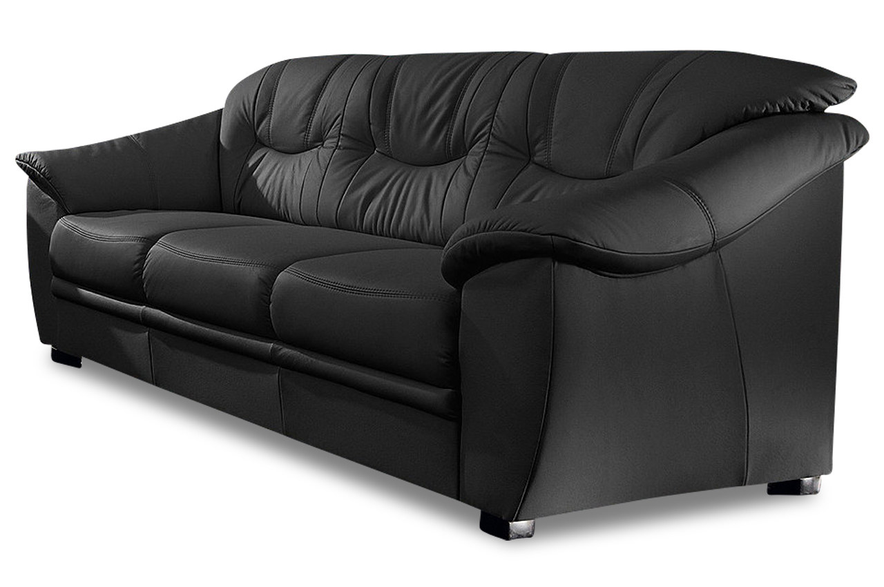 leder 3er sofa savona schwarz mit federkern sofa couch ecksofa ebay. Black Bedroom Furniture Sets. Home Design Ideas