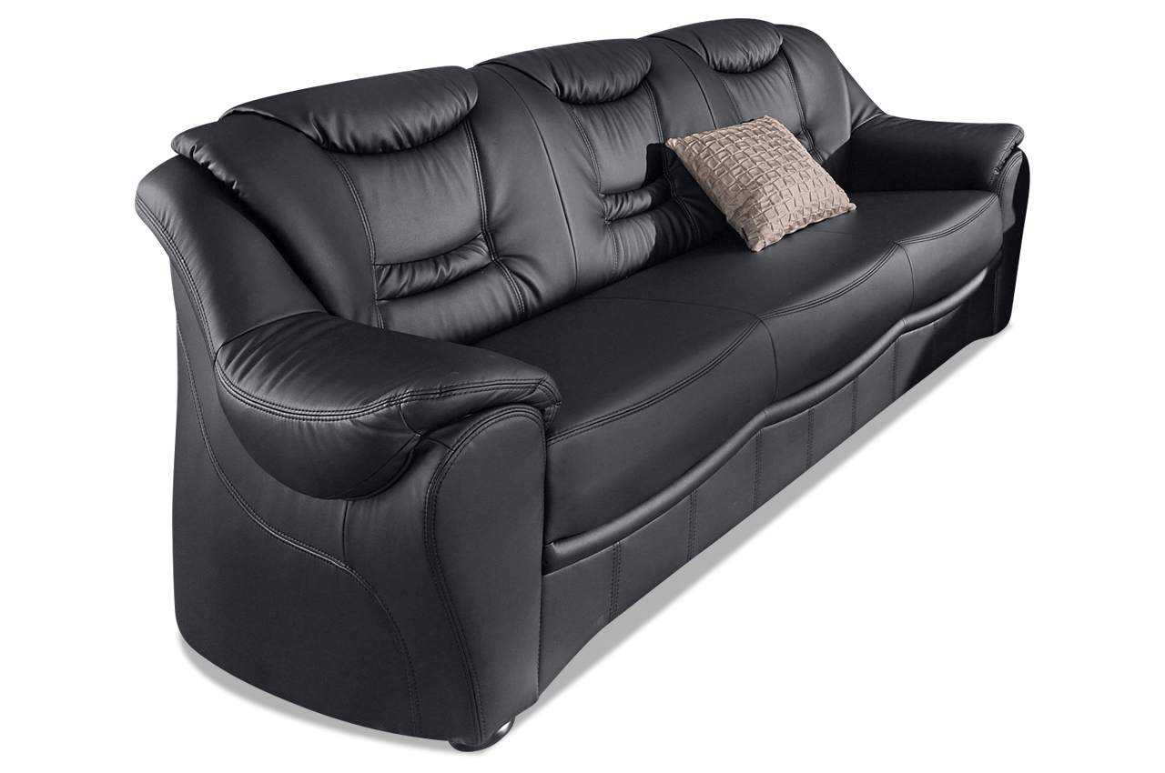 leder 3er sofa schwarz mit federkern sofas zum halben preis. Black Bedroom Furniture Sets. Home Design Ideas