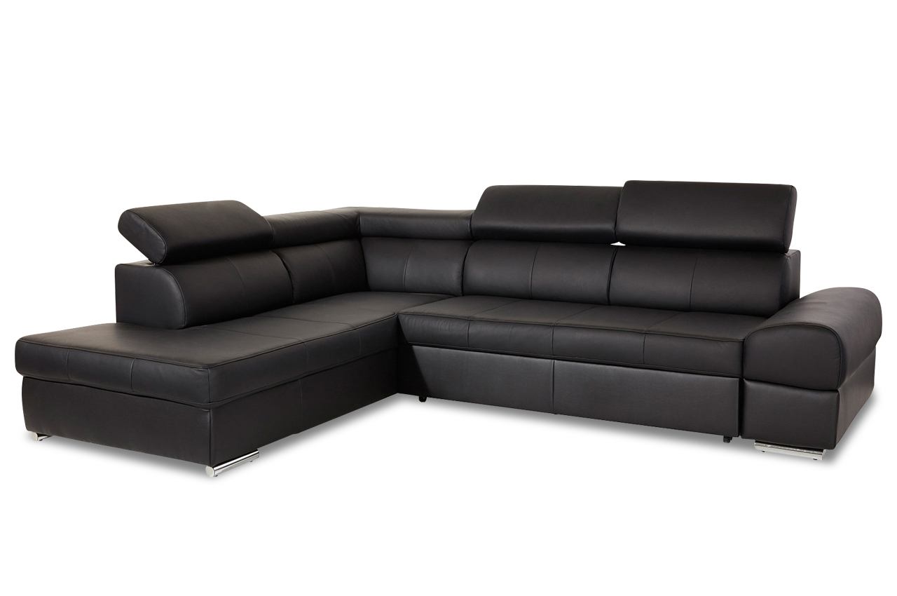 leder ecksofa xl broadway mit schlaffunktion schwarz sofas zum halben preis. Black Bedroom Furniture Sets. Home Design Ideas