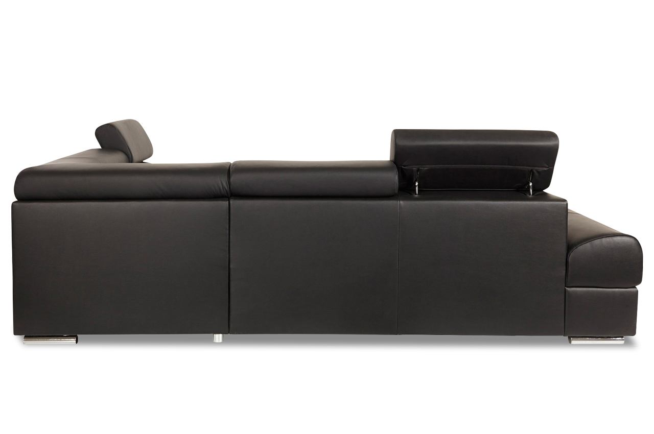 leder ecksofa xl broadway mit schlaffunktion schwarz. Black Bedroom Furniture Sets. Home Design Ideas