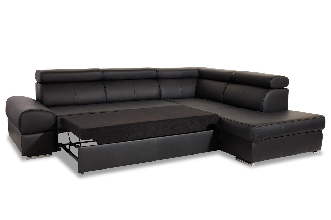 leder ecksofa xl broadway mit schlaffunktion schwarz sofas zum halben preis. Black Bedroom Furniture Sets. Home Design Ideas