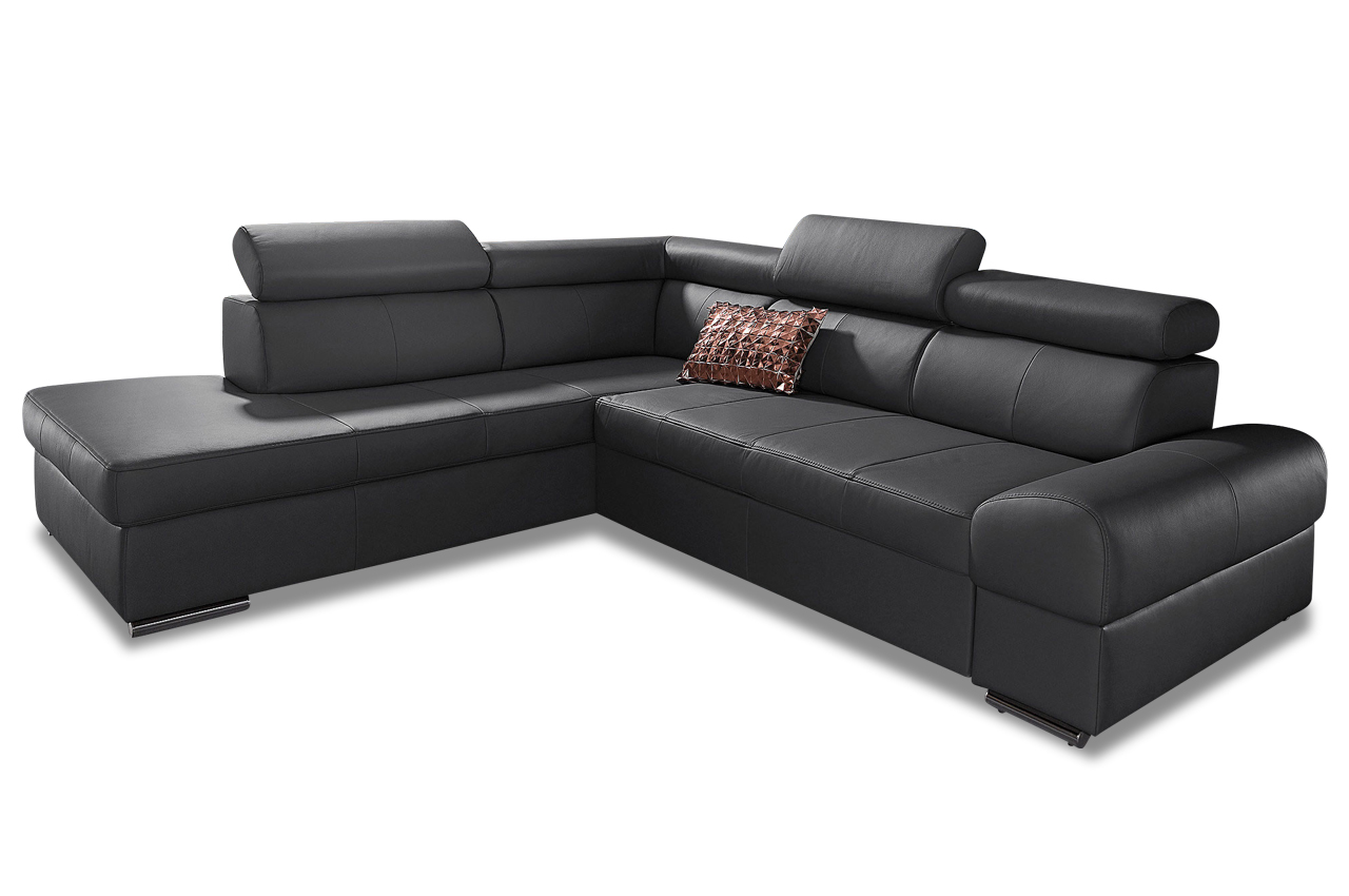premium leder ecksofa xl runway schwarz sofas zum. Black Bedroom Furniture Sets. Home Design Ideas
