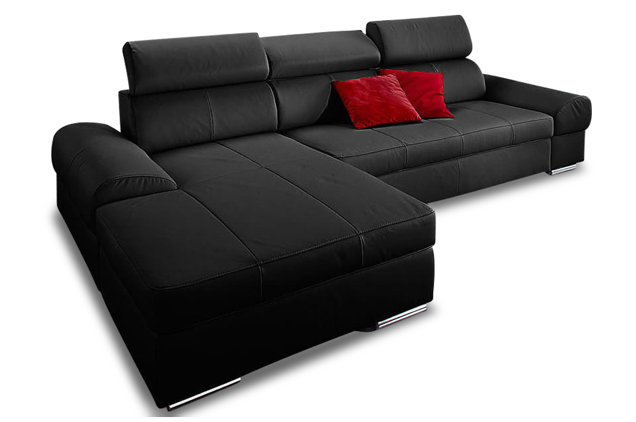 premium leder ecksofa runway schwarz sofas zum halben. Black Bedroom Furniture Sets. Home Design Ideas