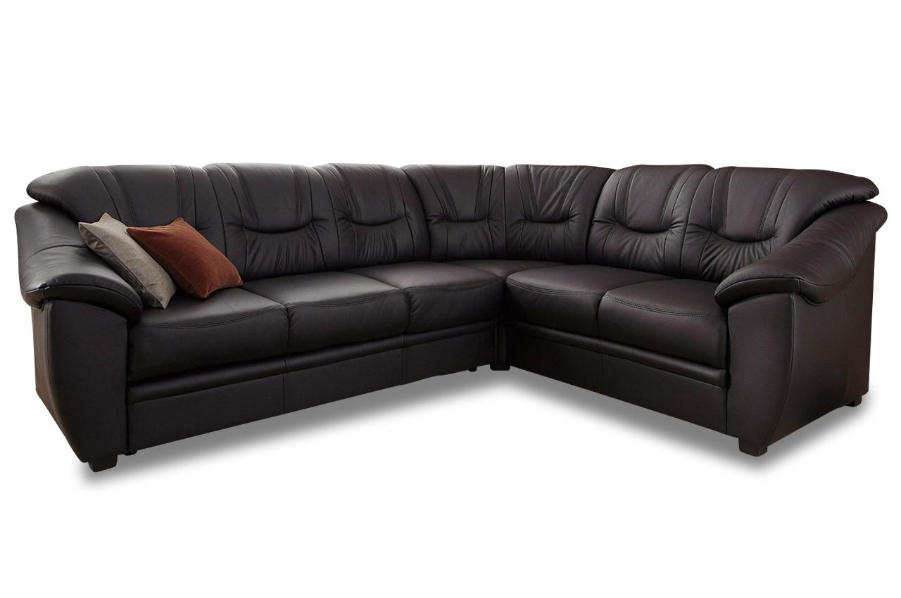 Leder rundecke savona schwarz mit federkern sofa couch for Ecksofa leder federkern