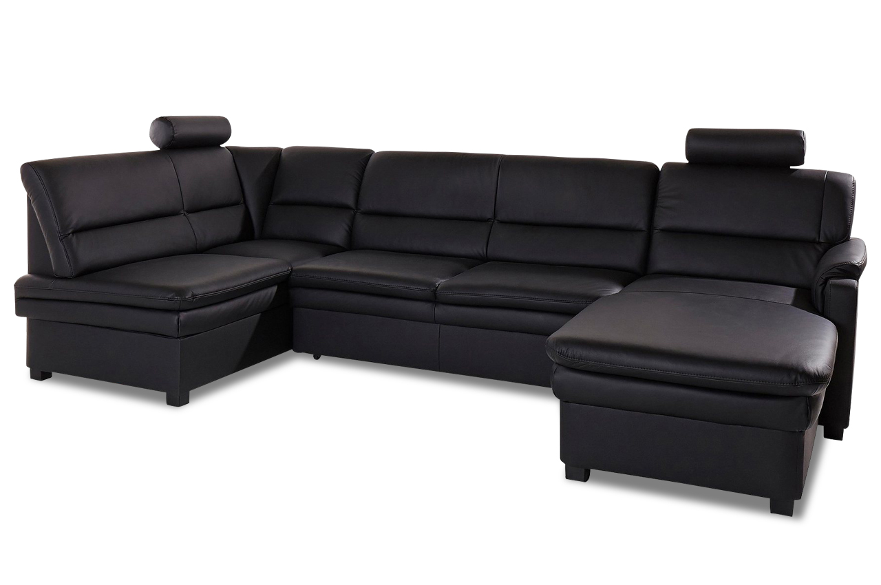leder wohnlandschaft pisa mit schlaffunktion schwarz mit federkern sofa c ebay. Black Bedroom Furniture Sets. Home Design Ideas