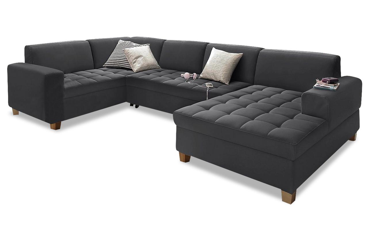 wohnlandschaft teri mit schlaffunktion schwarz sofas zum halben preis. Black Bedroom Furniture Sets. Home Design Ideas