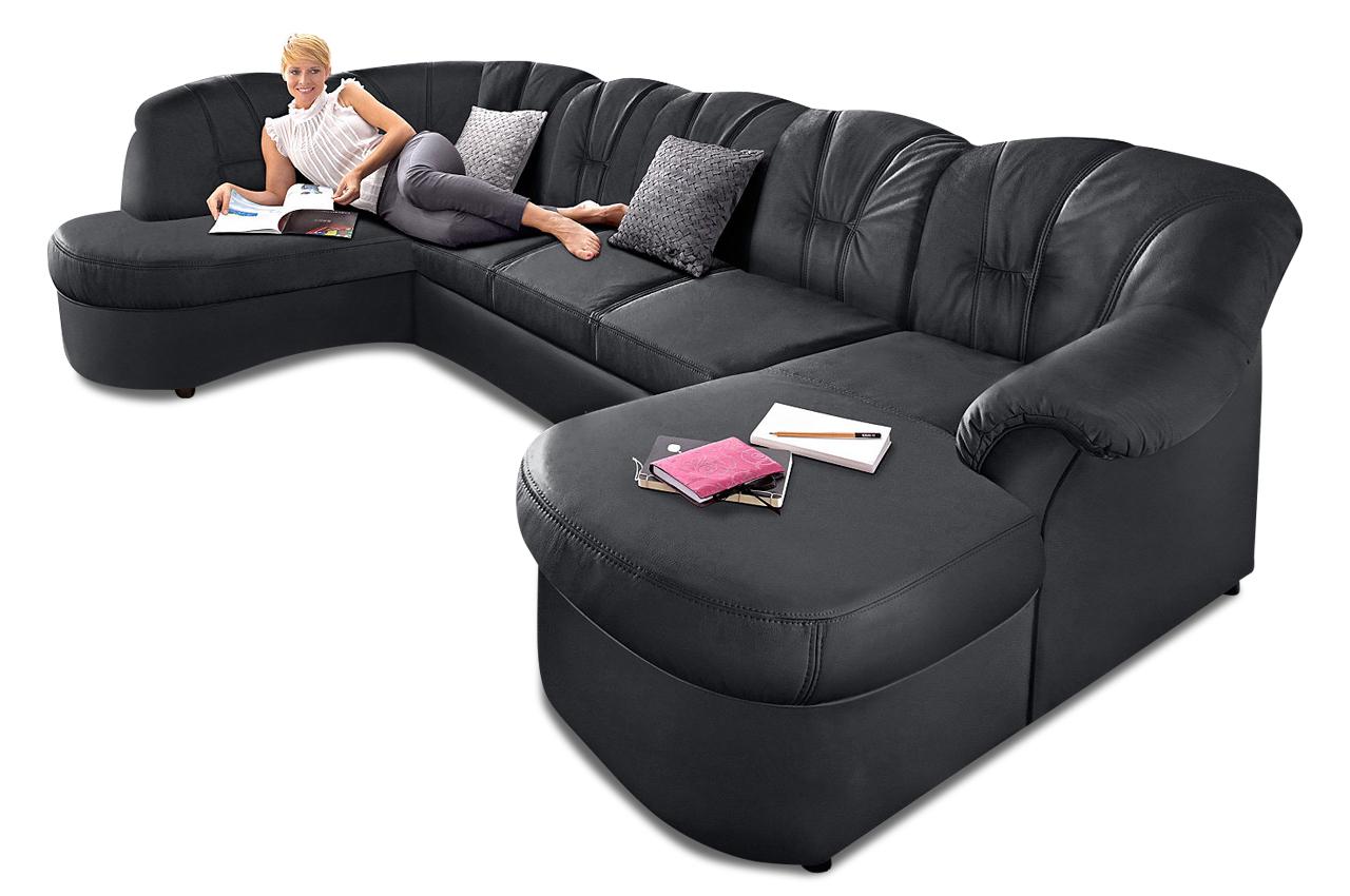 leder wohnlandschaft flores mit schlaffunktion schwarz sofas zum halben preis. Black Bedroom Furniture Sets. Home Design Ideas