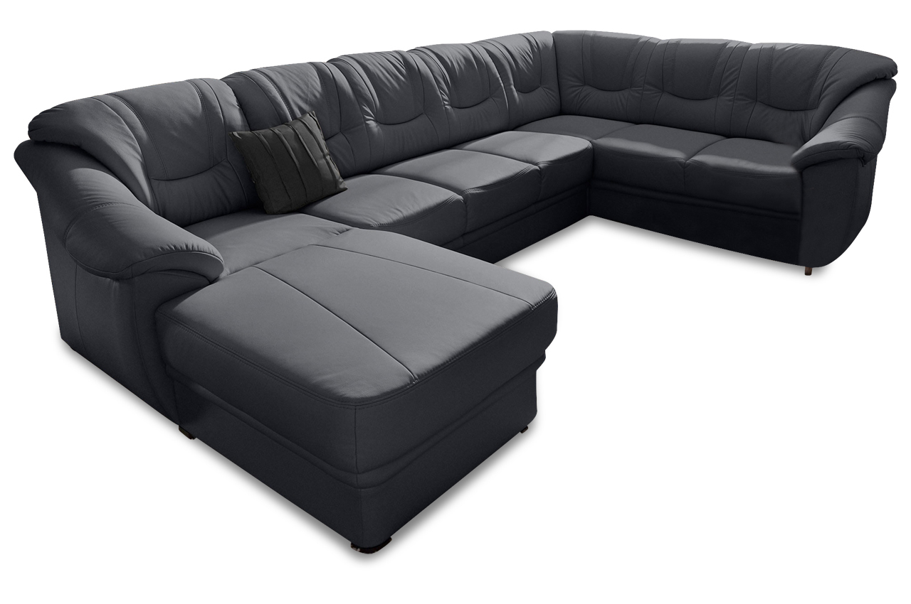 leder wohnlandschaft savona schwarz mit federkern sofas zum halben preis. Black Bedroom Furniture Sets. Home Design Ideas