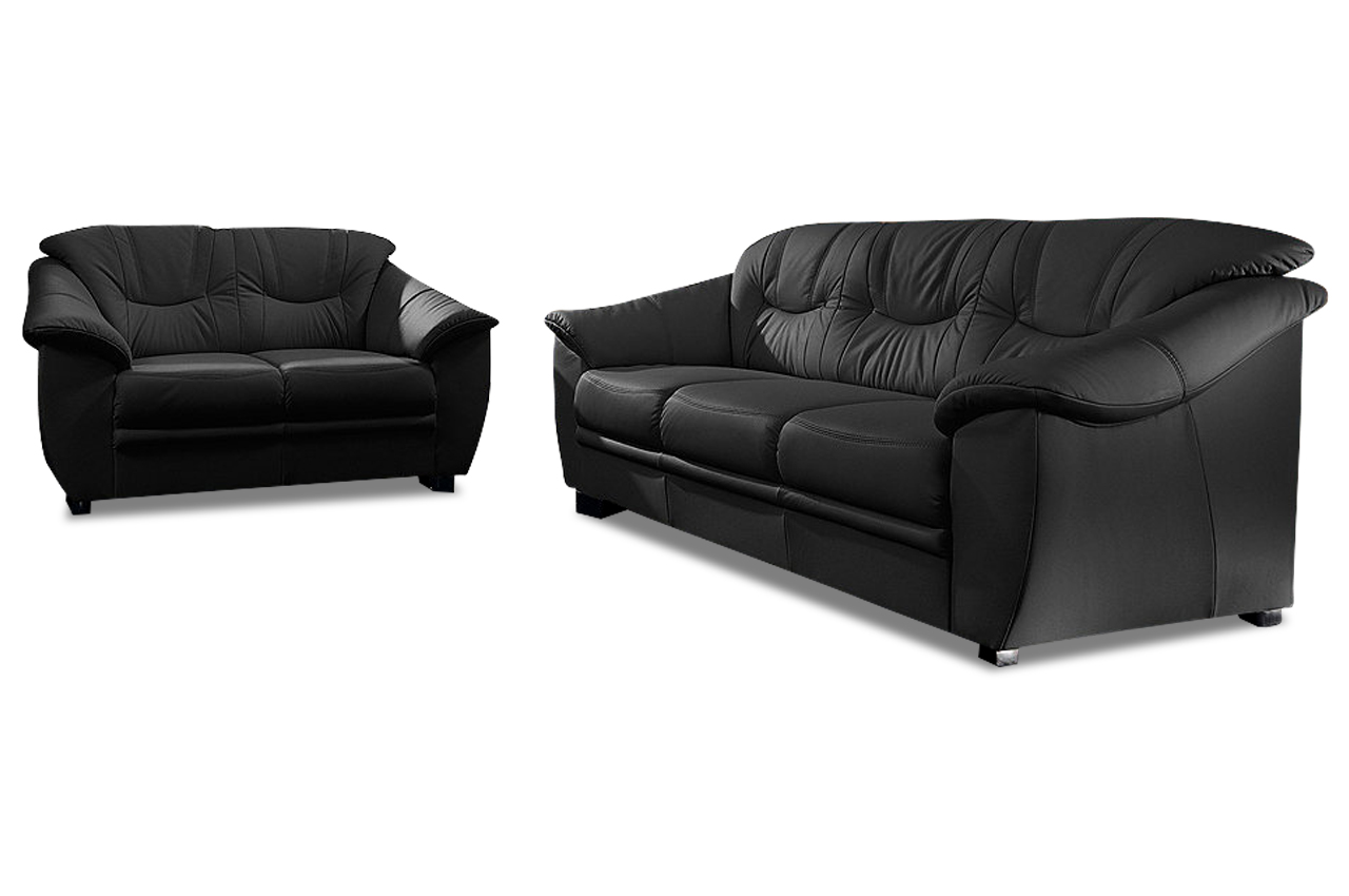 leder garnitur 3 2 savona schwarz mit federkern sofa couch ecksofa ebay. Black Bedroom Furniture Sets. Home Design Ideas