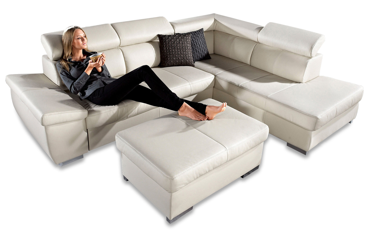 leder ecksofa xl catwalk creme sofas zum halben preis. Black Bedroom Furniture Sets. Home Design Ideas