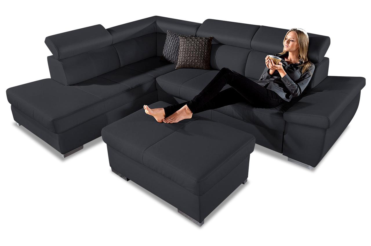 leder ecksofa xl mit schlaffunktion schwarz sofas. Black Bedroom Furniture Sets. Home Design Ideas