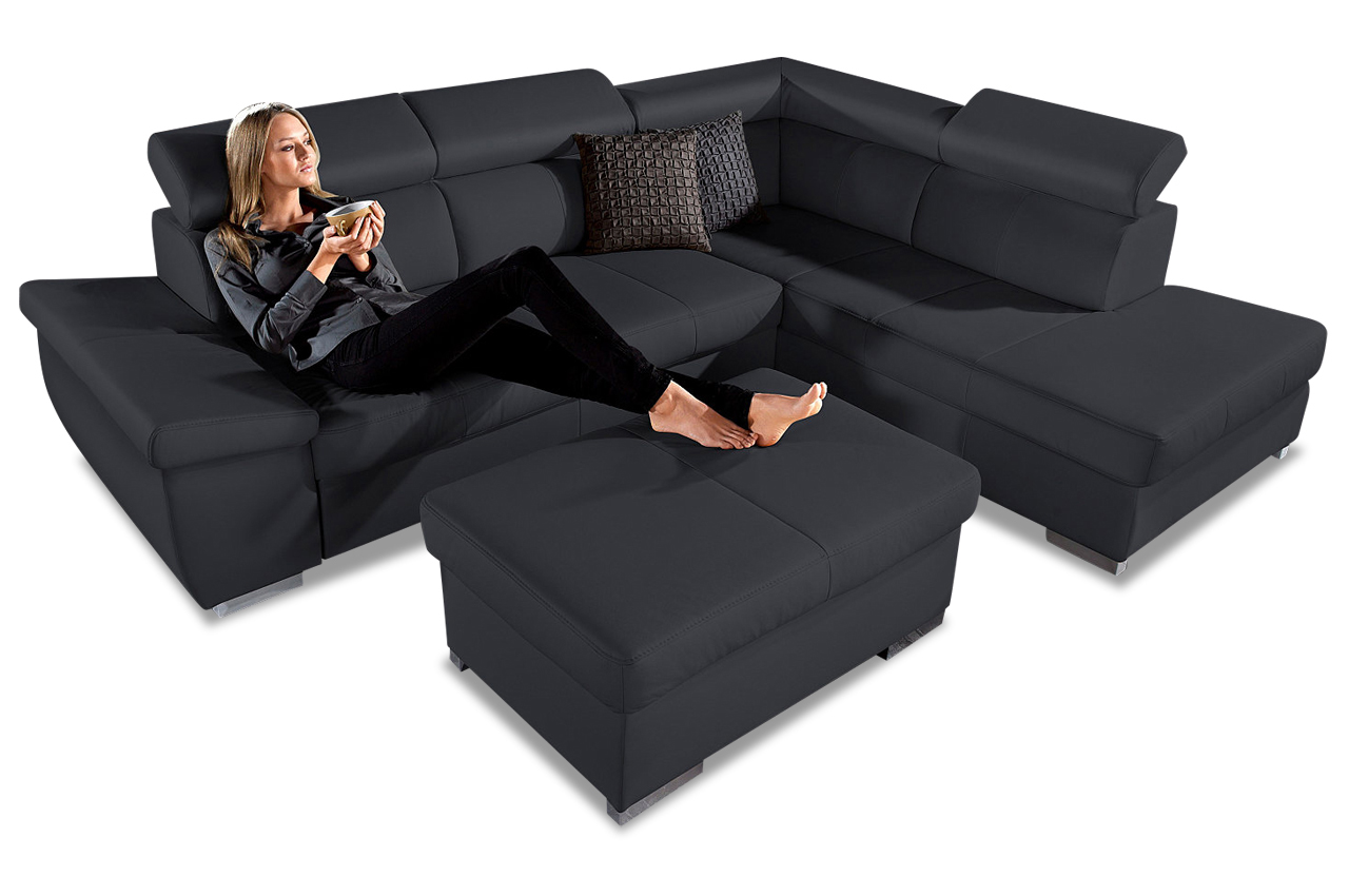 leder ecksofa xl mit schlaffunktion schwarz sofas. Black Bedroom Furniture Sets. Home Design Ideas