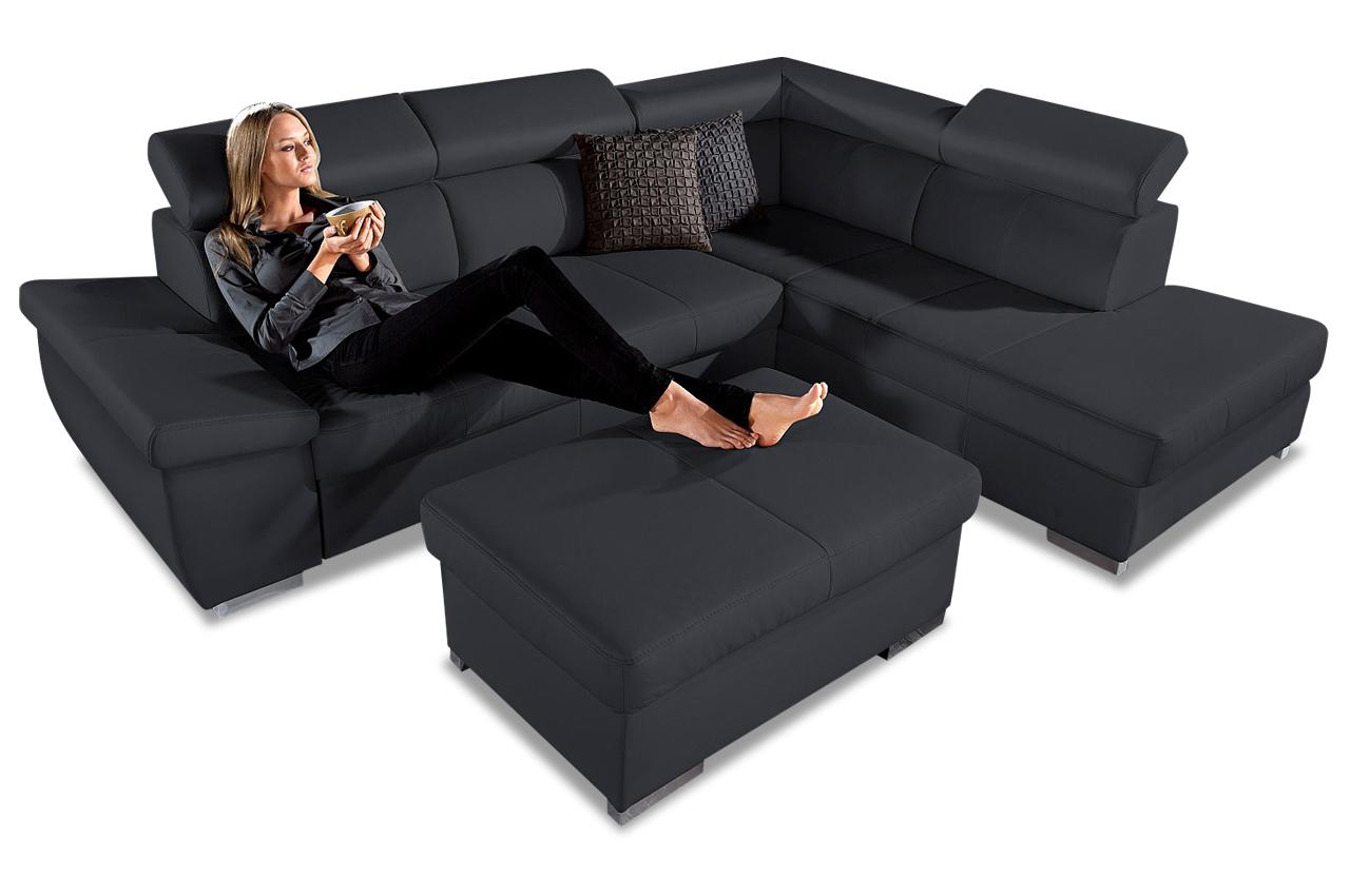 leder ecksofa xl mit schlaffunktion schwarz sofas zum halben preis. Black Bedroom Furniture Sets. Home Design Ideas