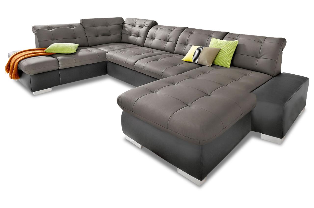 Leder wohnlandschaft grau sofas zum halben preis for Wohnlandschaft grau