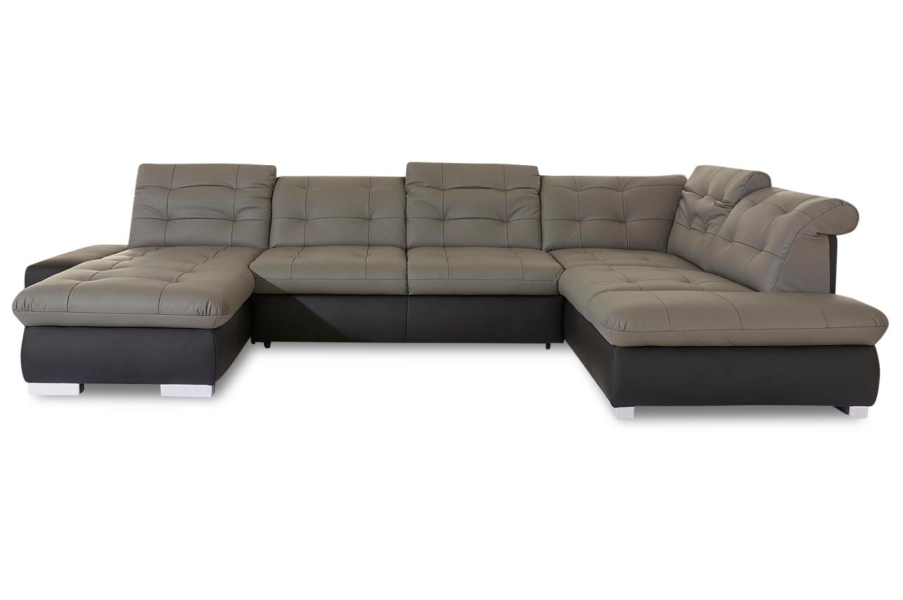 premium leder wohnlandschaft portofino grau sofas zum halben preis. Black Bedroom Furniture Sets. Home Design Ideas
