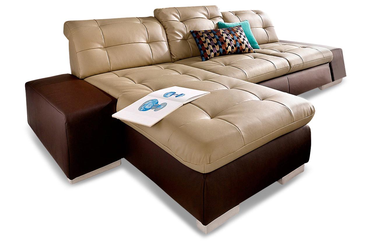 premium leder ecksofa portofino mit schlaffunktion braun sofas zum halben preis. Black Bedroom Furniture Sets. Home Design Ideas