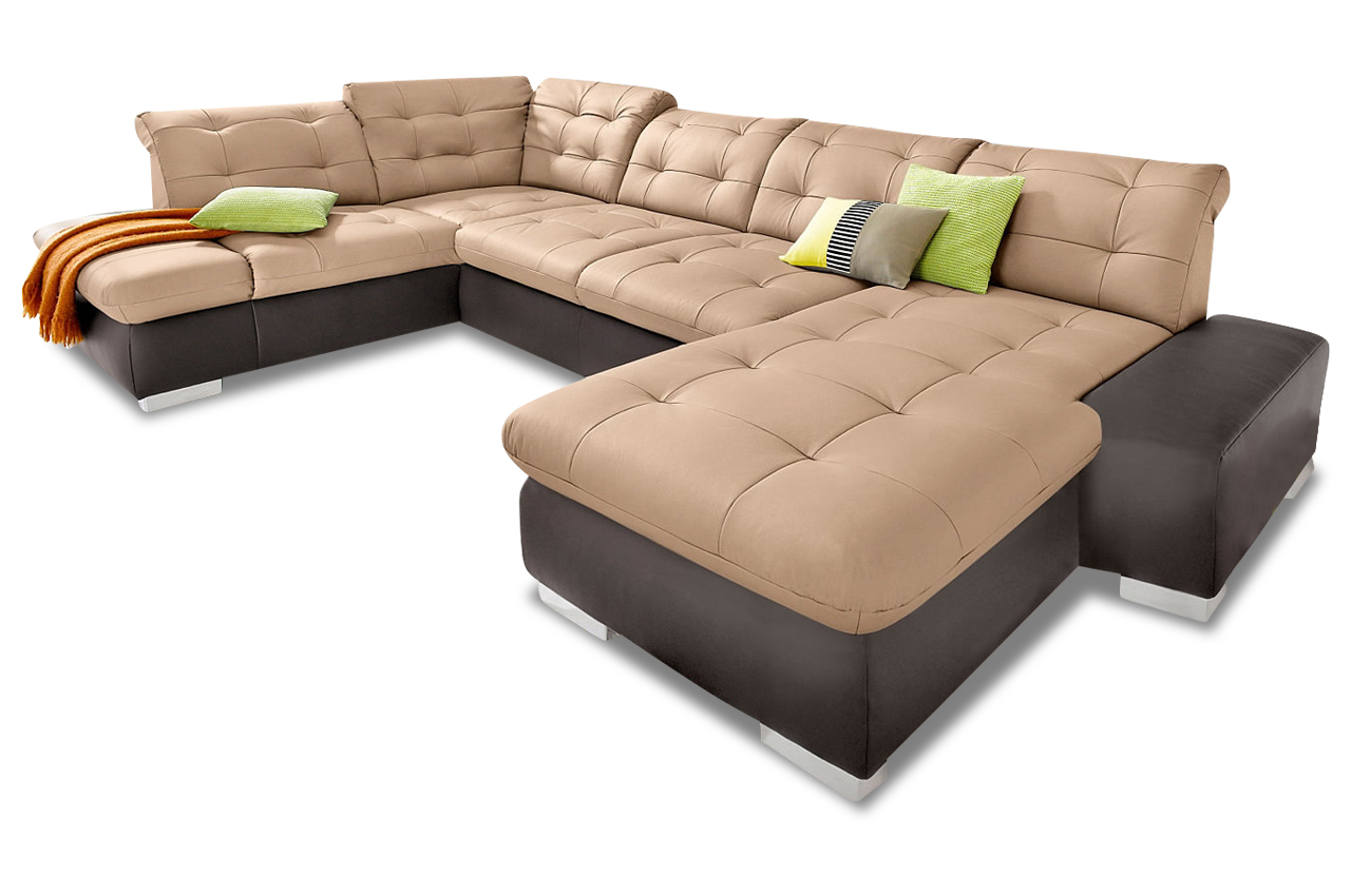 premium leder wohnlandschaft portofino mit schlaffunktion braun sofas zum halben preis. Black Bedroom Furniture Sets. Home Design Ideas