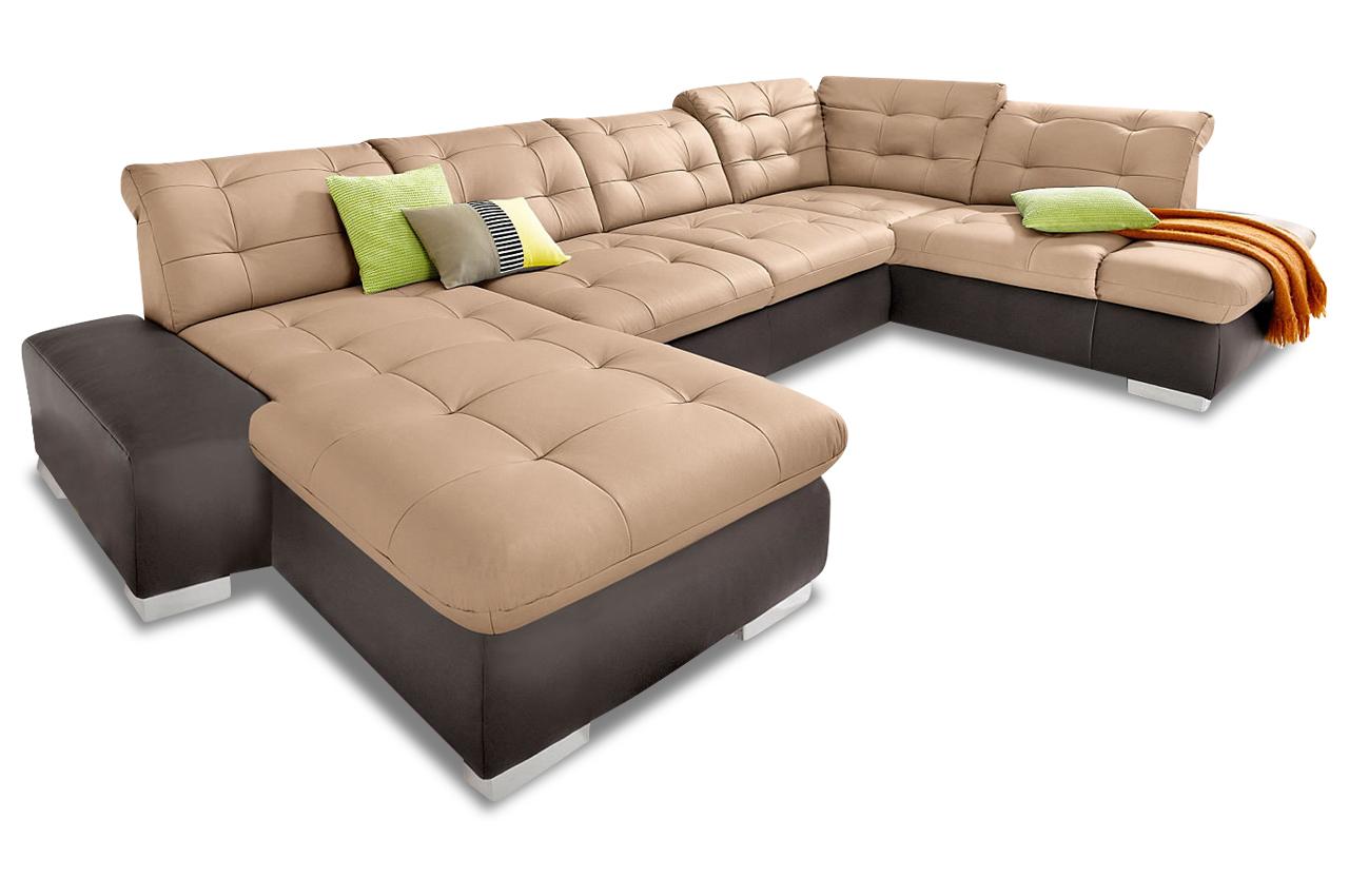 premium leder wohnlandschaft portofino braun sofas zum halben preis. Black Bedroom Furniture Sets. Home Design Ideas
