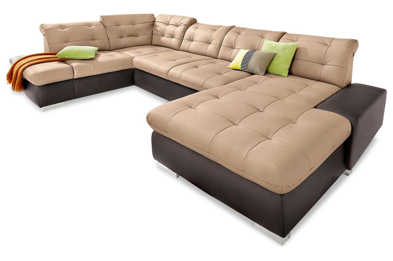 leder wohnlandschaft mit schlaffunktion braun sofas zum halben preis. Black Bedroom Furniture Sets. Home Design Ideas