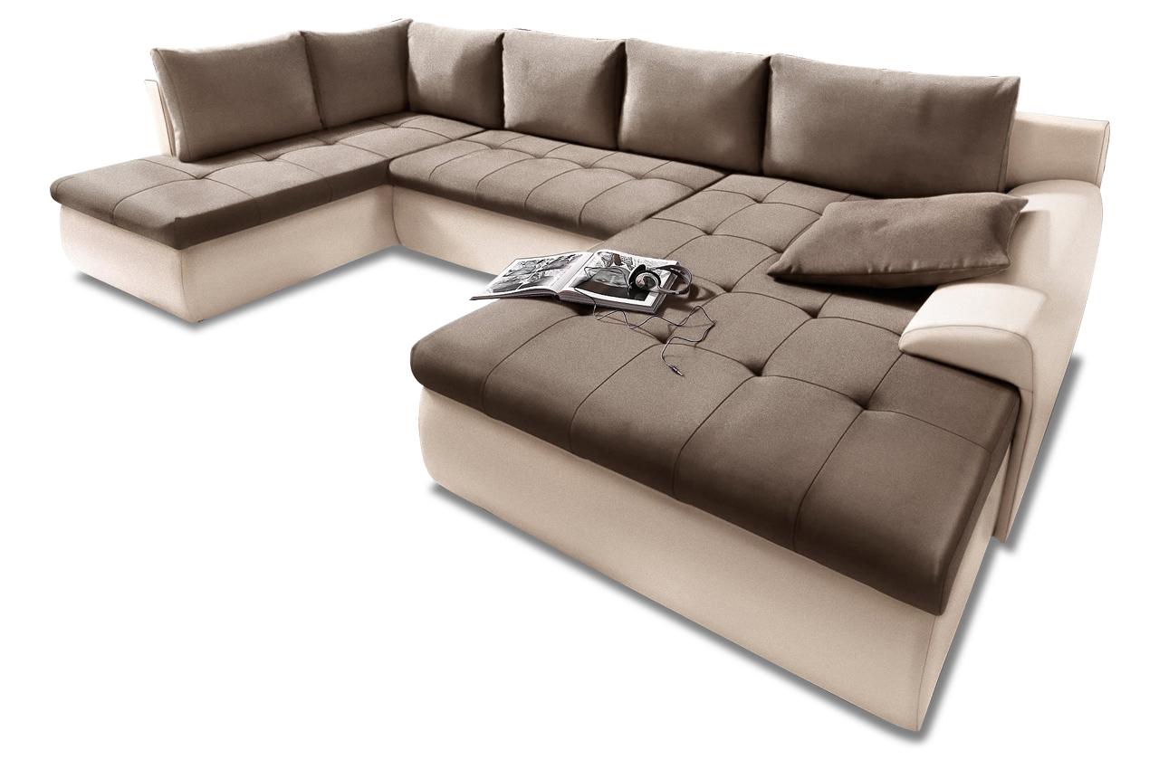 wohnlandschaft cecile xl mit schlaffunktion braun. Black Bedroom Furniture Sets. Home Design Ideas