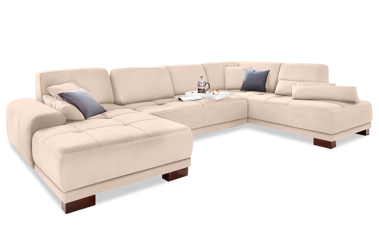 Wohnlandschaft mit sitzverstellung creme sofas zum for Wohnlandschaft creme