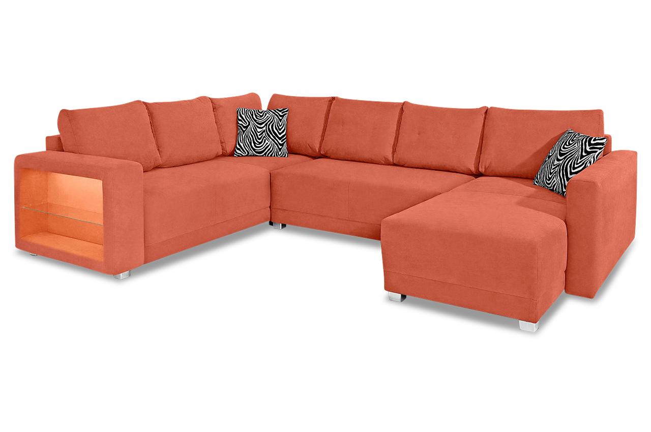 wohnlandschaft mit schlaffunktion orange sofas zum halben preis. Black Bedroom Furniture Sets. Home Design Ideas
