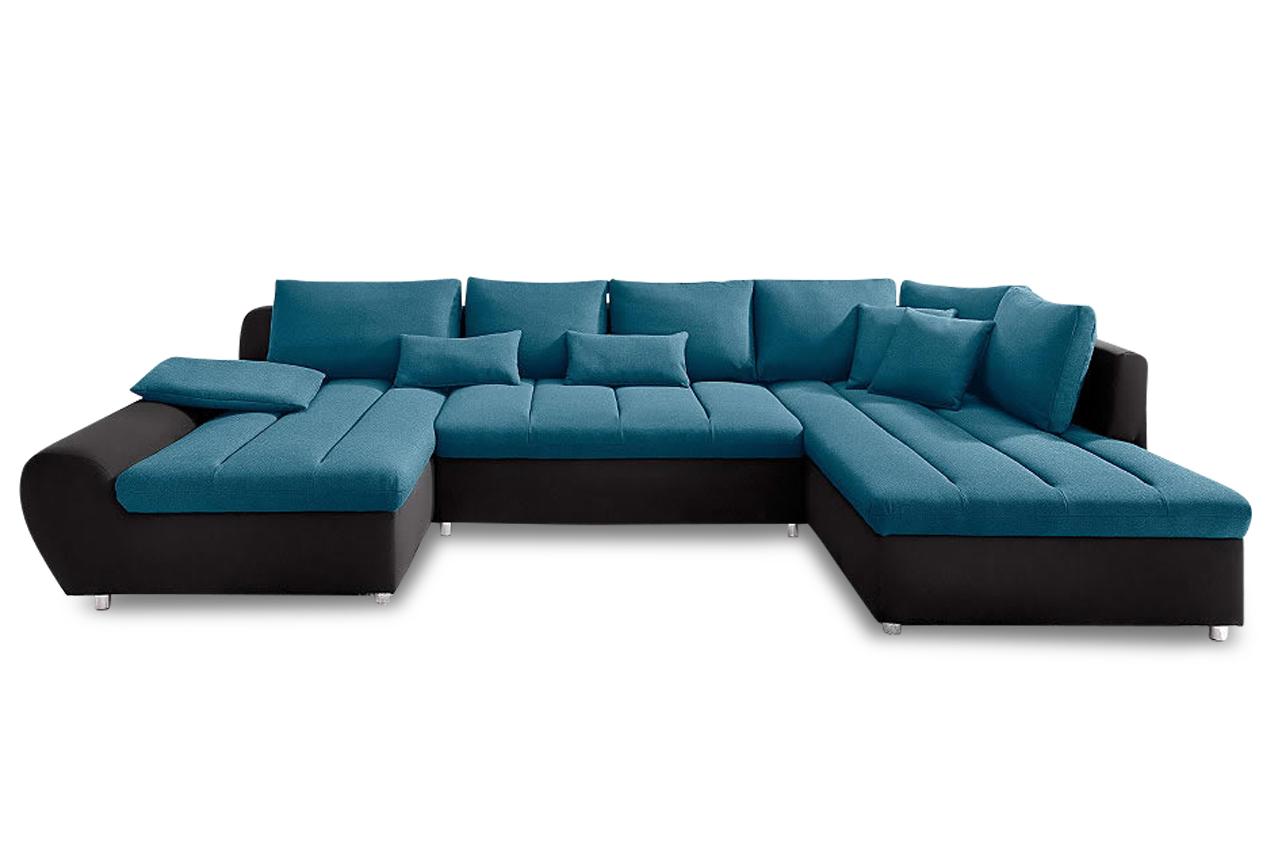 Sit more wohnlandschaft bandos xxl blau sofas zum for Wohnlandschaft blau