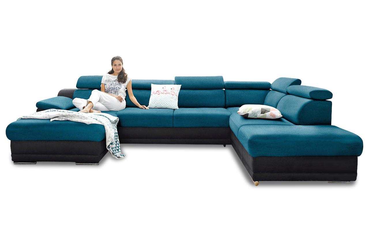 Wohnlandschaft blau sofas zum halben preis for Wohnlandschaft blau
