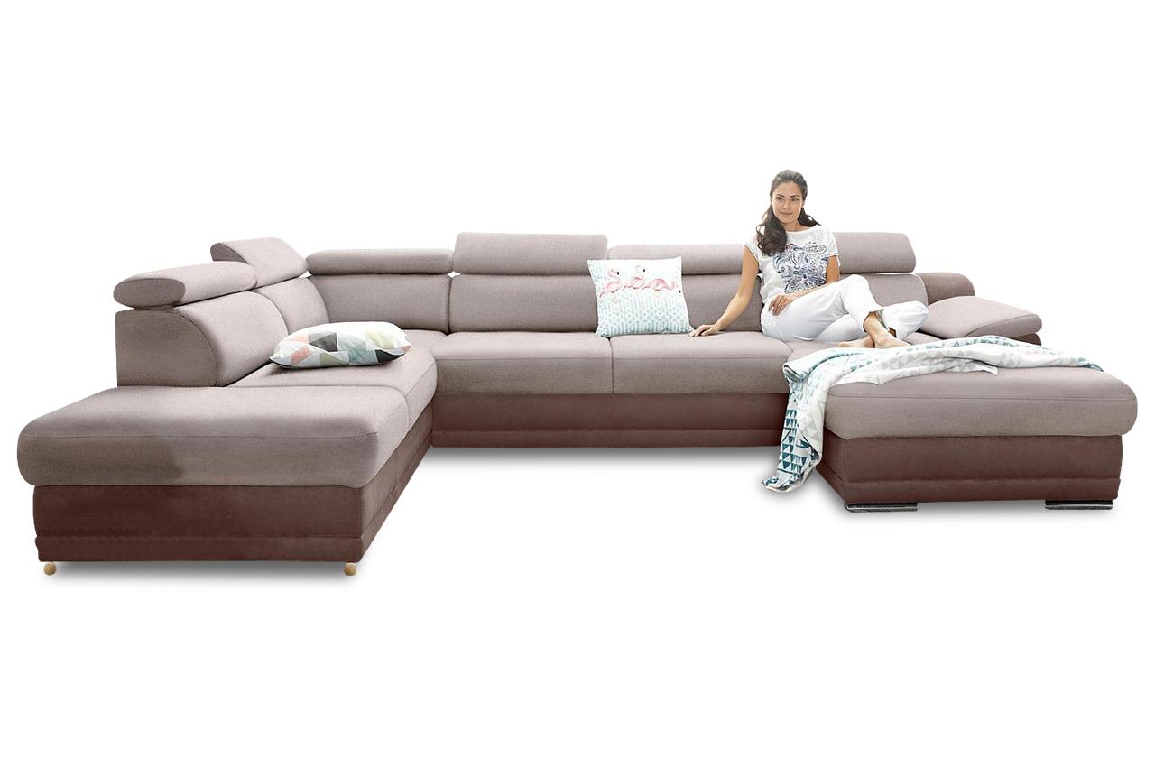 wohnlandschaft mit schlaffunktion braun sofas zum halben preis. Black Bedroom Furniture Sets. Home Design Ideas