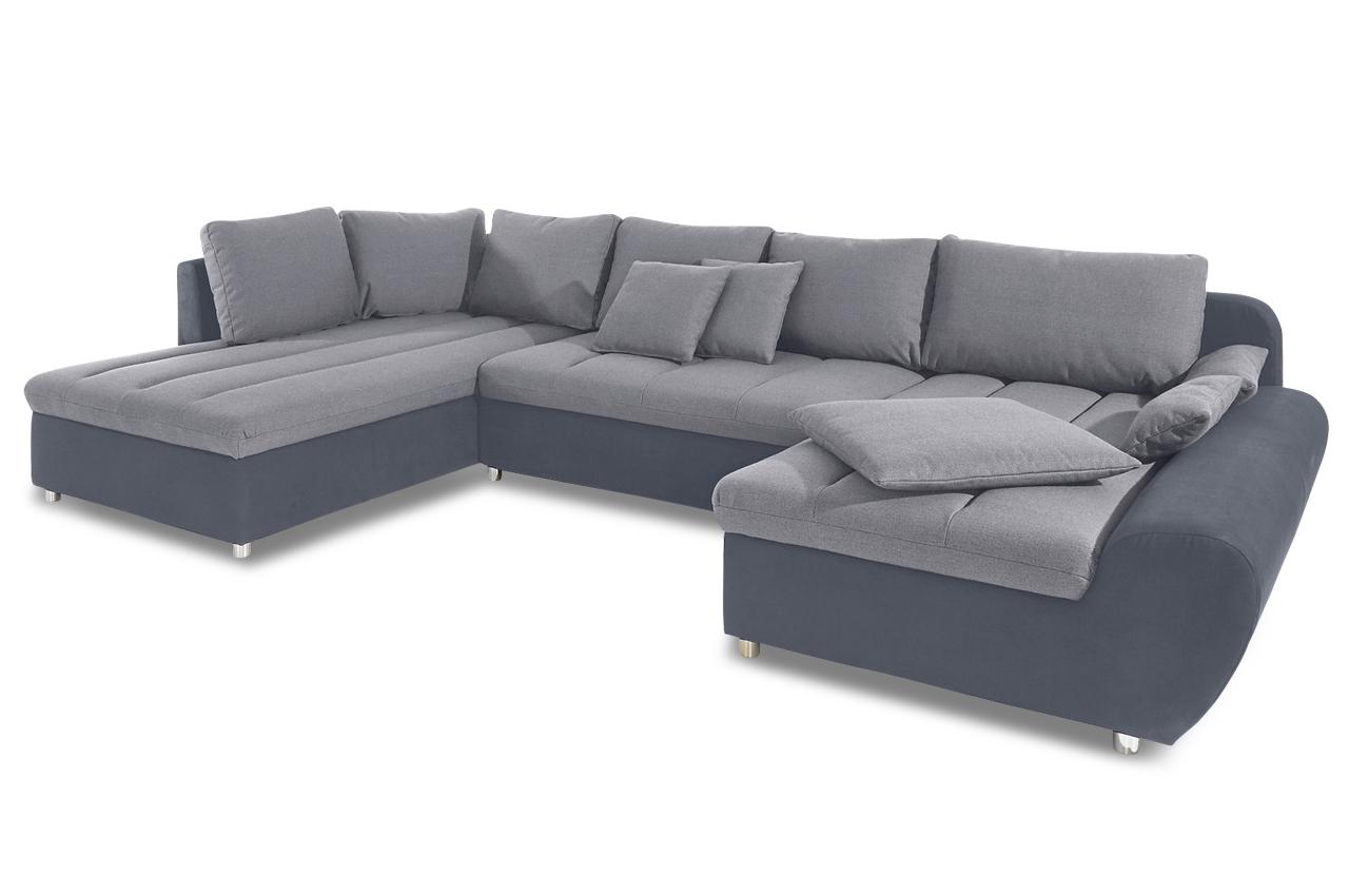 wohnlandschaft mit schlaffunktion grau sofas zum. Black Bedroom Furniture Sets. Home Design Ideas