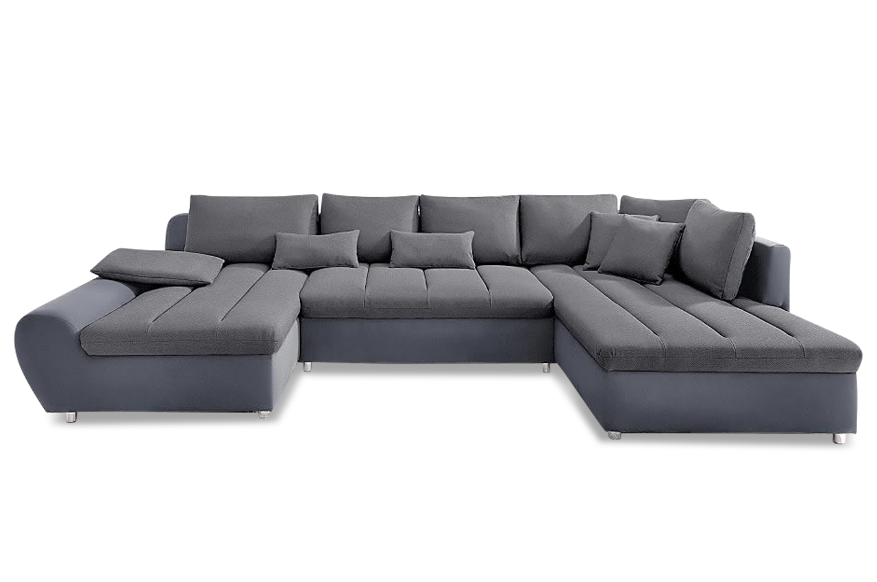 Wohnlandschaft bandos xxl grau sofa couch ecksofa ebay for Wohnlandschaft xxl grau