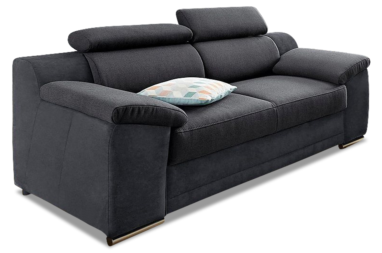 2er sofa xenia grau sofa couch ecksofa ebay. Black Bedroom Furniture Sets. Home Design Ideas