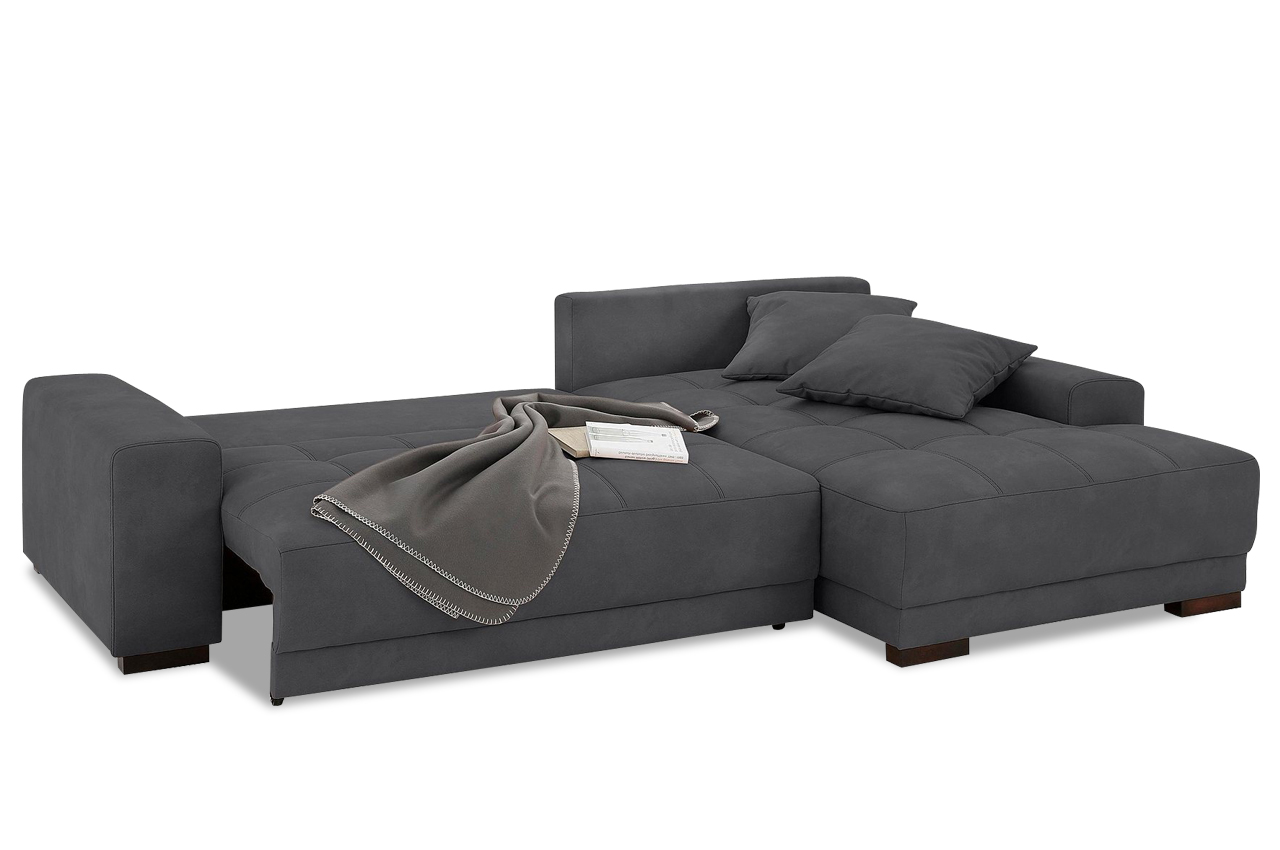 nova via ecksofa roberto mit schlaffunktion grau sofa couch ecksofa ebay. Black Bedroom Furniture Sets. Home Design Ideas