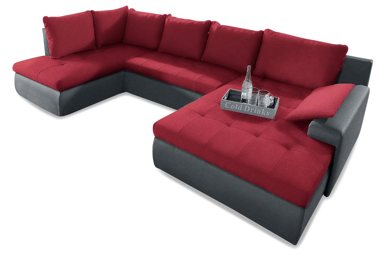 Wohnlandschaft candy xxl mit schlaffunktion rot sofa for Wohnlandschaft xxl microfaser