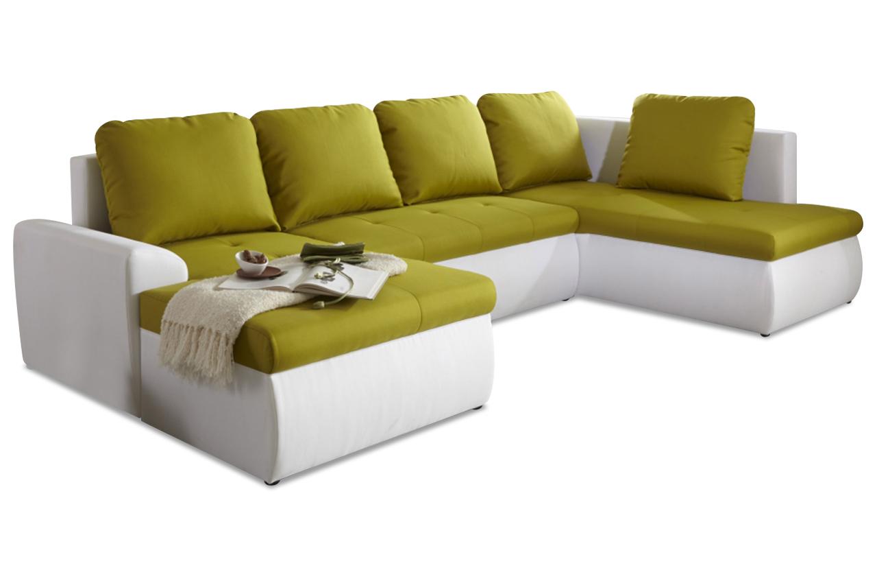 Sit more wohnlandschaft pluto mit bett stoff sofa couch for Wohnlandschaft bett
