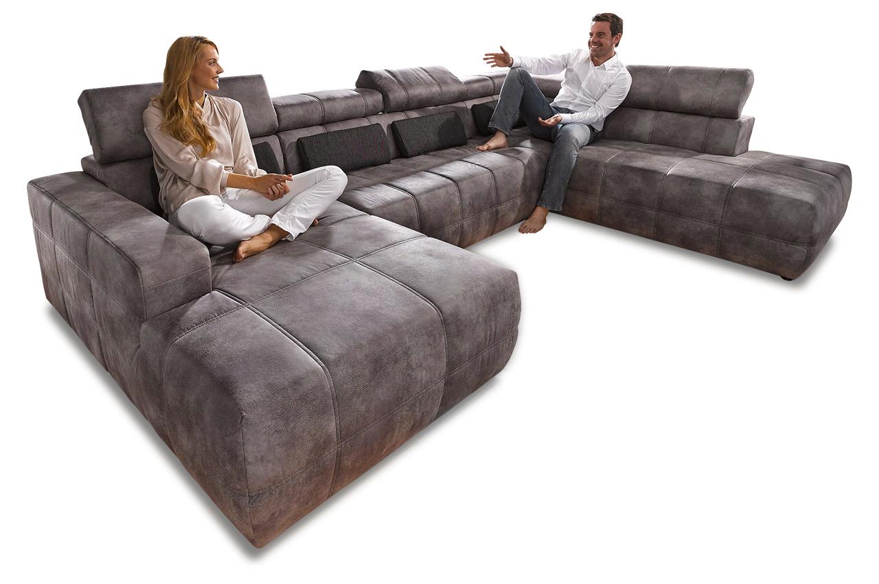 wohnlandschaft brandon mit sitzverstellung grau sofas zum halben preis. Black Bedroom Furniture Sets. Home Design Ideas