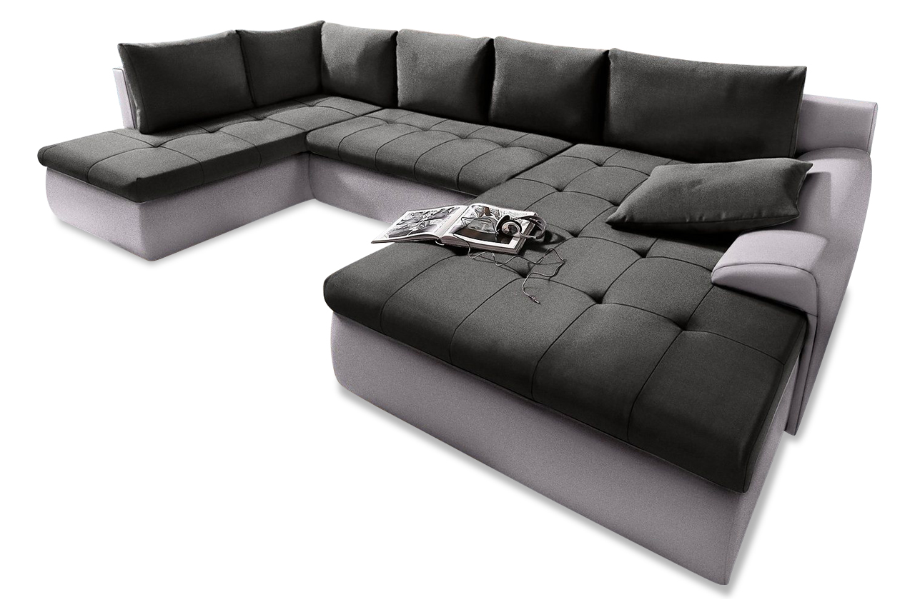 wohnlandschaft cecile xxl mit schlaffunktion schwarz. Black Bedroom Furniture Sets. Home Design Ideas