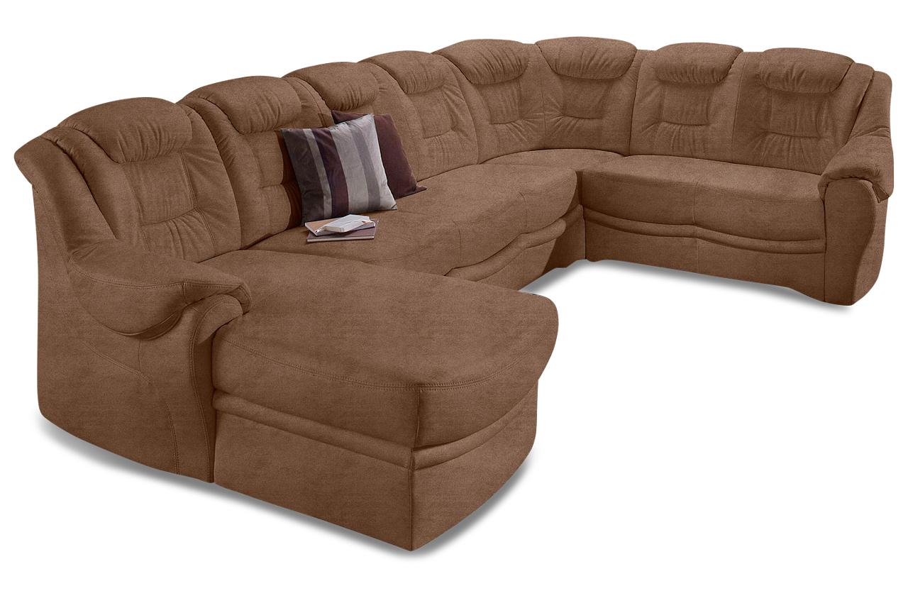 wohnlandschaft bellevue braun mit federkern sofas zum halben preis. Black Bedroom Furniture Sets. Home Design Ideas