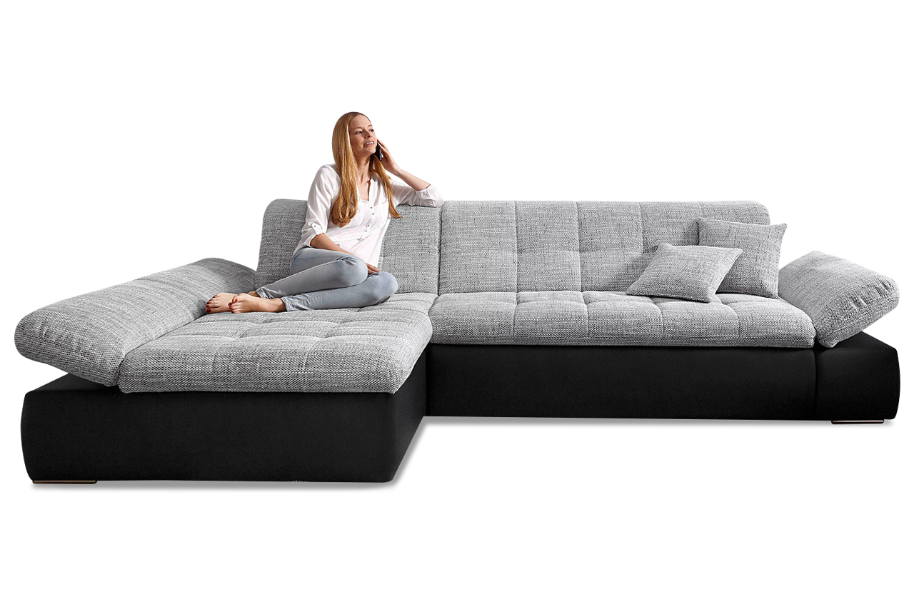 ecksofa moric kis links mit schlaffunktion grau sofas zum halben preis. Black Bedroom Furniture Sets. Home Design Ideas