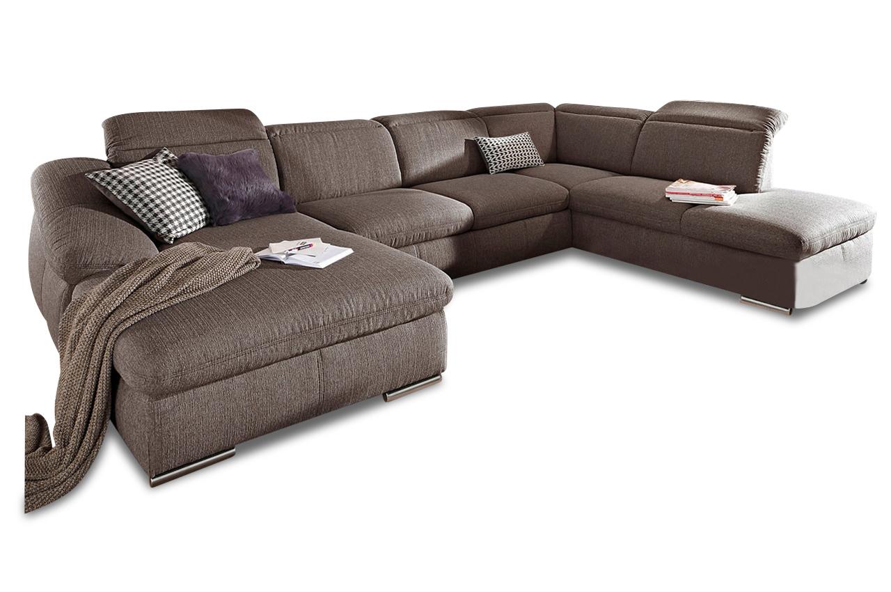 wohnlandschaft mit schlaffunktion braun wohnlandschaften sofas zum halben preis. Black Bedroom Furniture Sets. Home Design Ideas