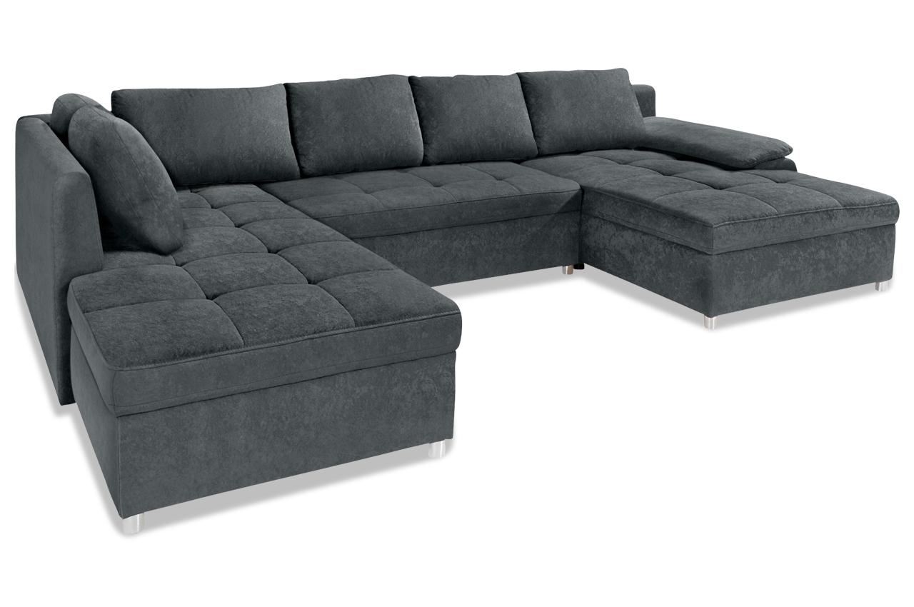 wohnlandschaft mit schlaffunktion grau sofas zum halben preis. Black Bedroom Furniture Sets. Home Design Ideas