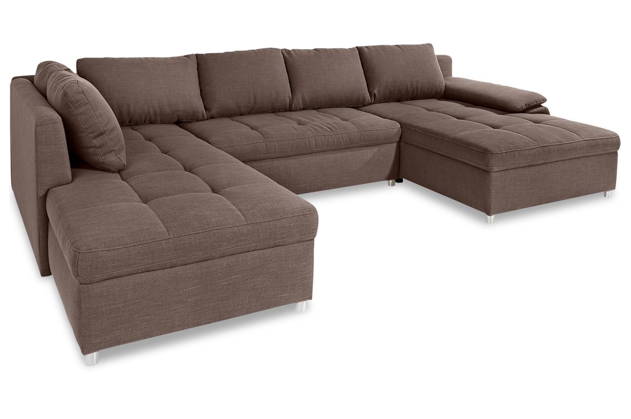 sit more wohnlandschaft labene mit schlaffunktion braun sofa couch ecksof ebay. Black Bedroom Furniture Sets. Home Design Ideas