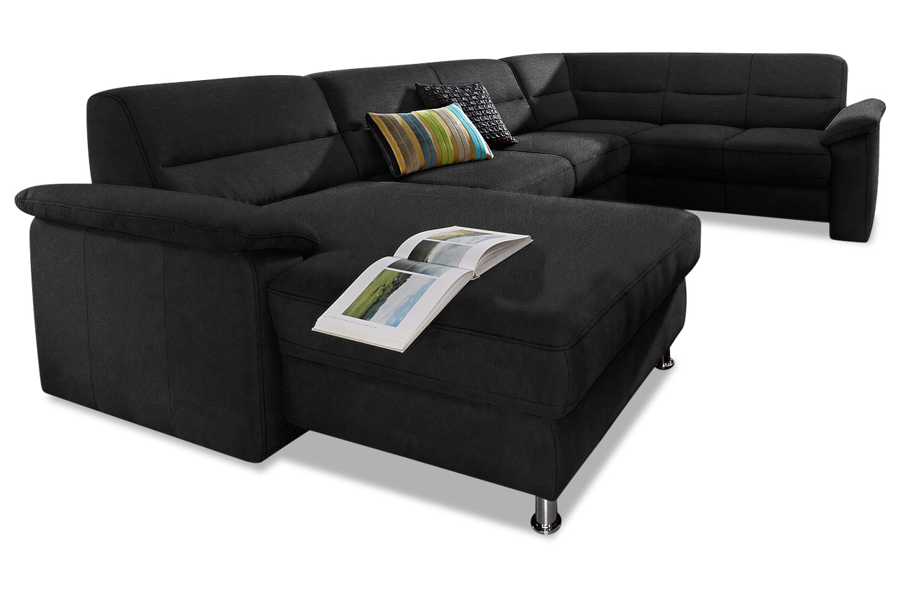 wohnlandschaft ascara schwarz mit boxspring sofa couch ecksofa ebay. Black Bedroom Furniture Sets. Home Design Ideas