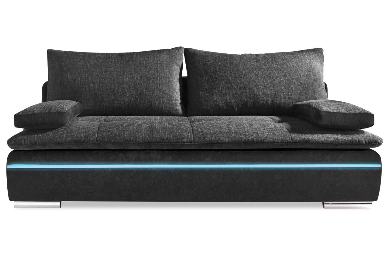 3er sofa haiti easy mit led und schlaffunktion anthrazit sofas zum halben preis. Black Bedroom Furniture Sets. Home Design Ideas