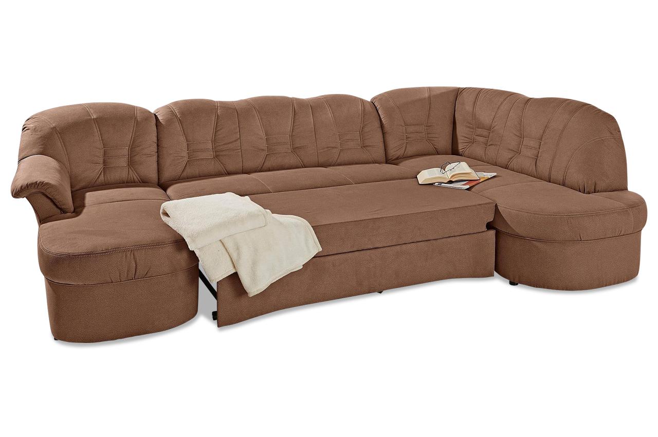 wohnlandschaft elva mit schlaffunktion braun. Black Bedroom Furniture Sets. Home Design Ideas