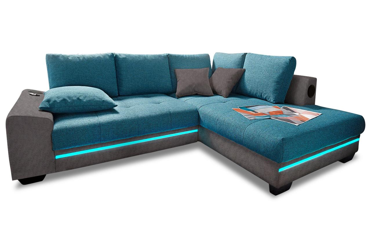 ecksofa xl nikita rechts mit led und sound gruen. Black Bedroom Furniture Sets. Home Design Ideas