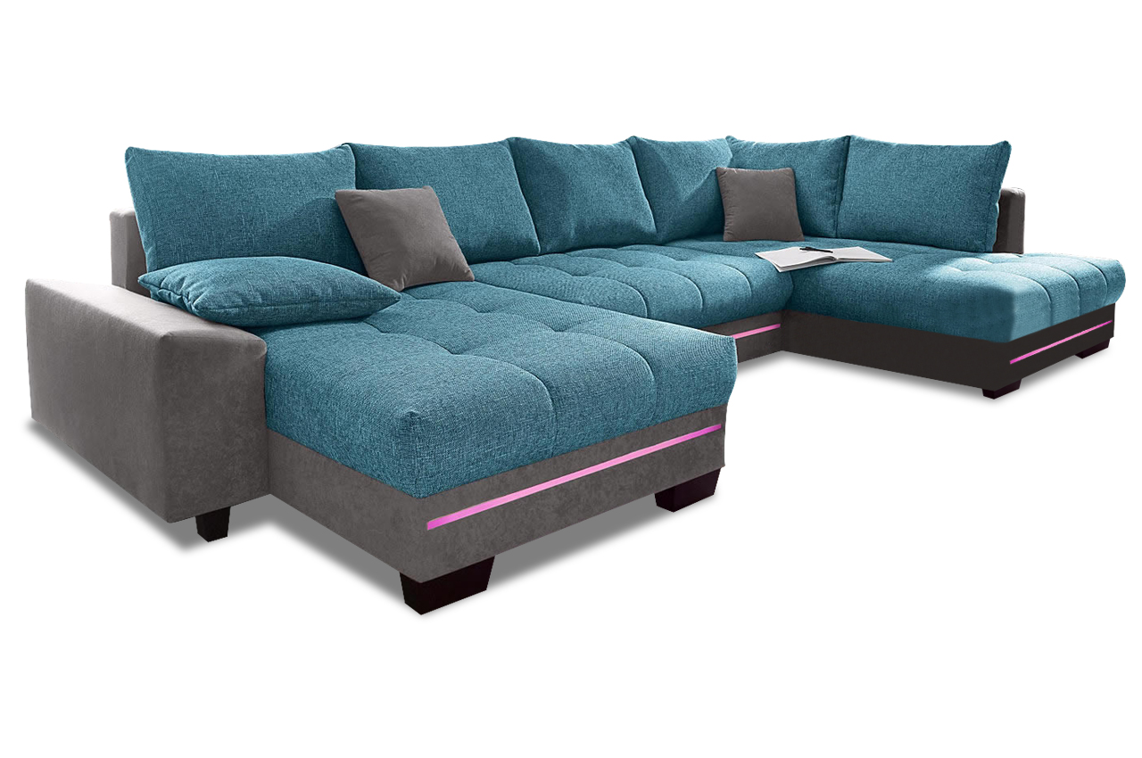 nova via wohnlandschaft nikita mit led anthrazit sofa couch ecksofa ebay. Black Bedroom Furniture Sets. Home Design Ideas