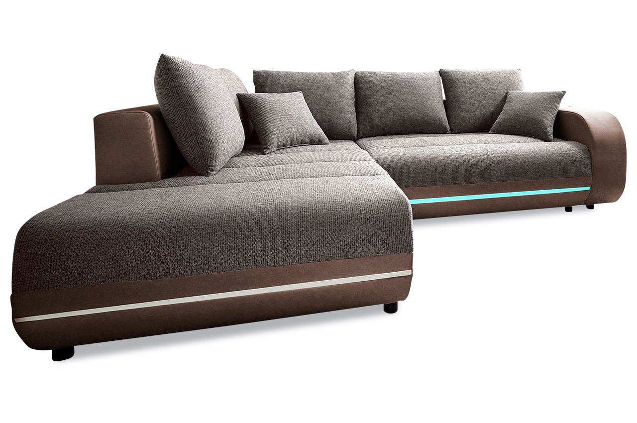 nova via ecksofa xl trento mit led braun sofa couch ecksofa ebay. Black Bedroom Furniture Sets. Home Design Ideas